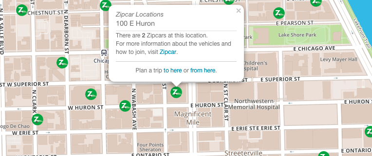 Zipcar Car-Sharing Commuter Map Integration