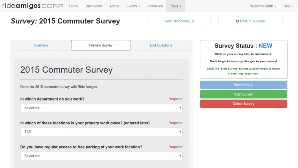 Commuter Survey Distribution