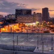 Empty Parking Lot at Night