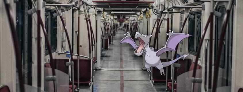 Pokémon Go - Aerodactyl on Transit