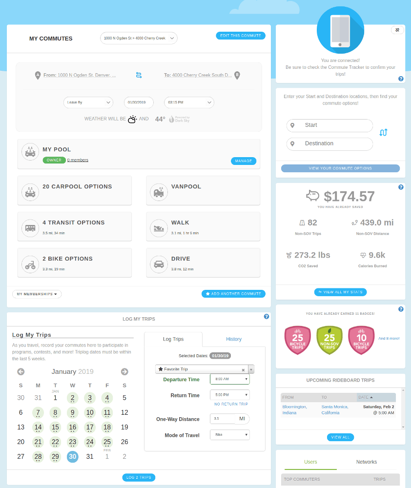RideAmigos User Dashboard